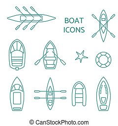 Boat icons outline set.