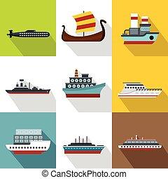 Boat icons set, flat style