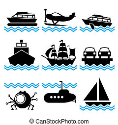 boat icons - set of vector silhouette icons on marine ...