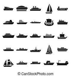 Boat icons set, simple style