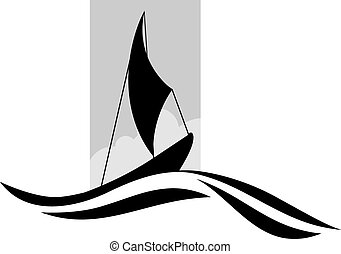 Boat - Illustration of a sailing vessel with red flag in sea...
