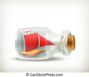 Boat in a bottle, vector icon