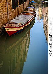 Boat in a canal, Venice, Italy