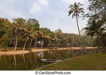 boat in a tropical lake in Hanoi