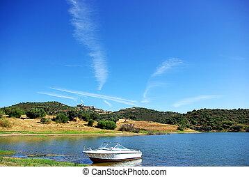 Boat in alqueva lake.