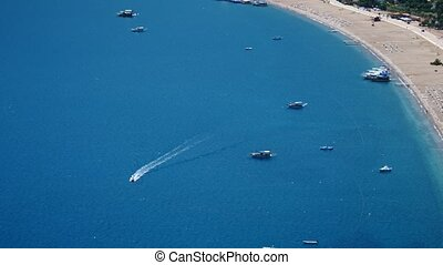 Boat in blue sea laguna background Turkey