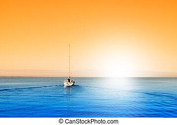 boat in blue sea