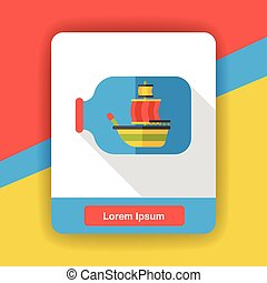 boat in bottle flat icon