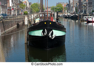 boat in canal - barge in canal in the monumental part of...