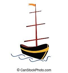 boat in color vector illustration
