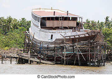 Boat in construction in Borneo, Tanjung Puting National...