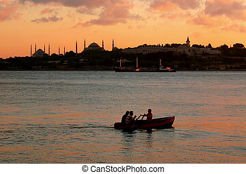 Boat in front of Istanbul