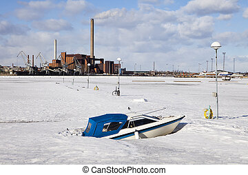 Boat In Frozen Harbor