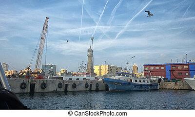 Boat in harbor Barceloneta