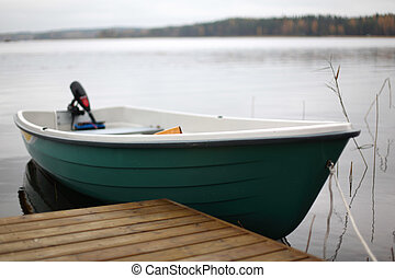 boat in lake nature background