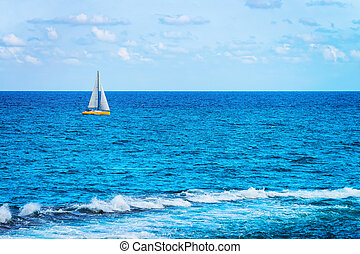 Boat in Mediterranean Sea in Siracusa Sicily