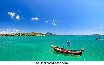 Boat in Phuket Thailand - Long tailed boat Ruea Hang Yao in...
