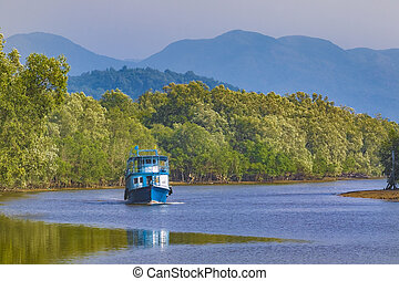 boat in ranong river southern of thailand