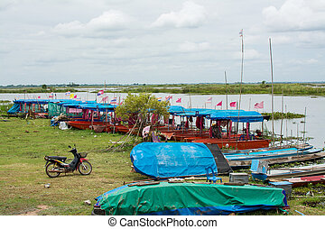 Boat in Red Lotus Sea Udon Thani, Thailand