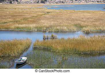 Boat in reeds of Titicaca lake