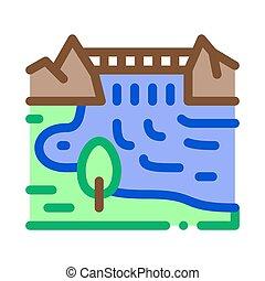 boat in river landscape icon vector outline illustration