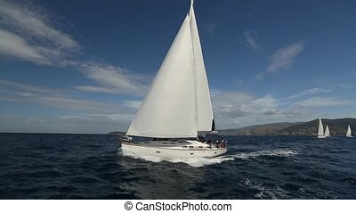 Boat in sailing regatta. Luxury yachts