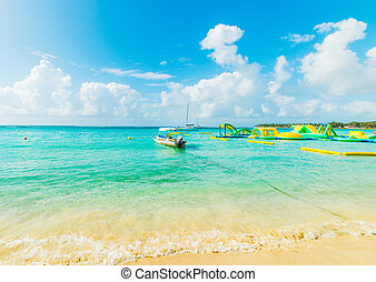 Boat in Sainte Anne beach in Guadeloupe, French west indies. Lesser Antilles, Caribbean sea