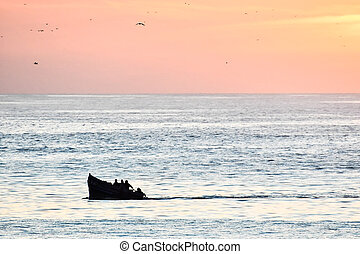 boat in sea at sunset, photo as background