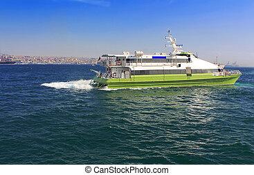 Boat in the Bosphorus, Istanbul, Turkey