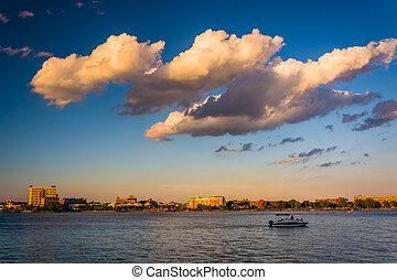 Boat in the harbor in Boston, Massachusetts.
