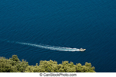 Boat in the mediterranean sea
