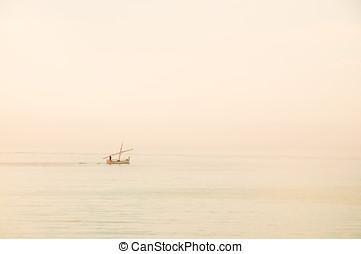 Boat in the mist