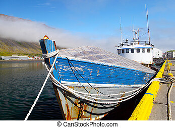 Boat in the port of Isafjordur