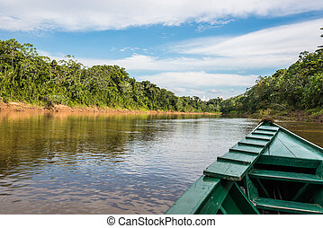 boat in the river in the peruvian Amazon jungle at Madre de...
