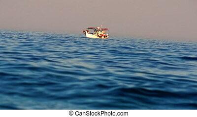 boat in the sea 4k