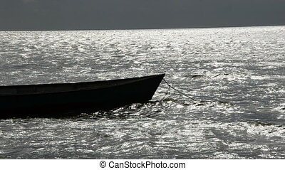 boat in the sea on the waves