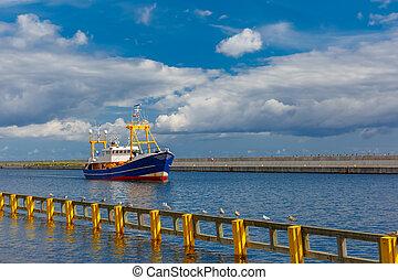 Boat in the sea port, Gdynia, Baltic, Poland