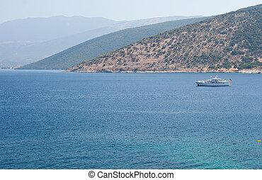 View of Agia Efimia coast - Boat in the sea, View of Agia ...