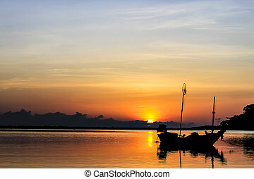 Boat in the sunrise