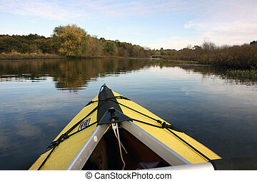 Boat on a Walden Pond in Massachusetts in autumn