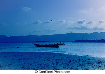 Boat in tropical sea at the evening