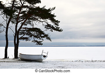 Boat in winter rest
