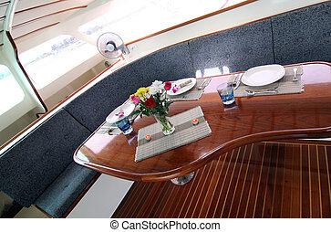 Boat interior - Interior of a luxury boat.