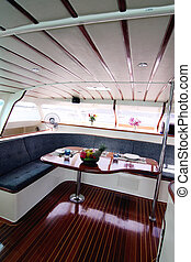 boat interior - Interior of a luxury charter yacht.