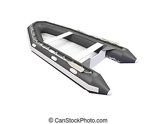 Boat isolated back view