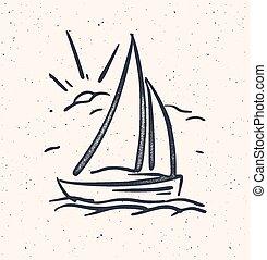 boat., isolated., vela, ilustração, mão, vetorial, desenhado