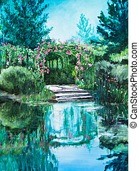 Boat Landing at Giverny Water Lily Pond - A rose trellis...