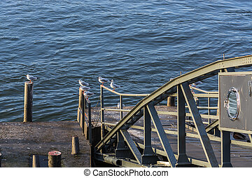 Boat landing stage on the Rhine
