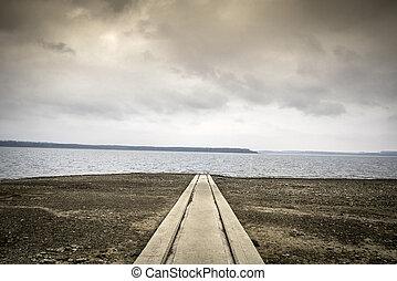 Noble landscape of boat lauch ramp on Oravska Lake, Slovakia