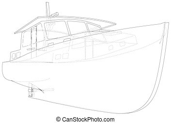 Boat line. EPS10 format. Wire-frame Vector created of 3d